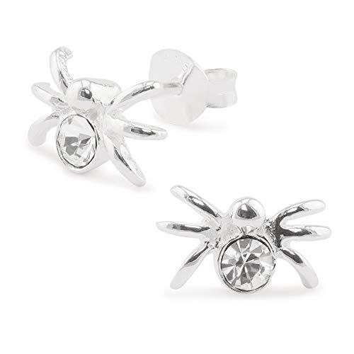 Monkimau Damen Ohrringe Spinne Ohrstecker aus 925 Sterling Silver echt Silber mit Kristallen