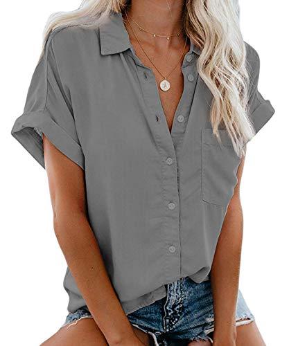 MallFancy Damen Bluse Kurzarm Reverskragen Shirt Sommer Hemdbluse Einfarbig Knopfleiste Blusen Oberteile Tops mit Taschen(Grau,L)