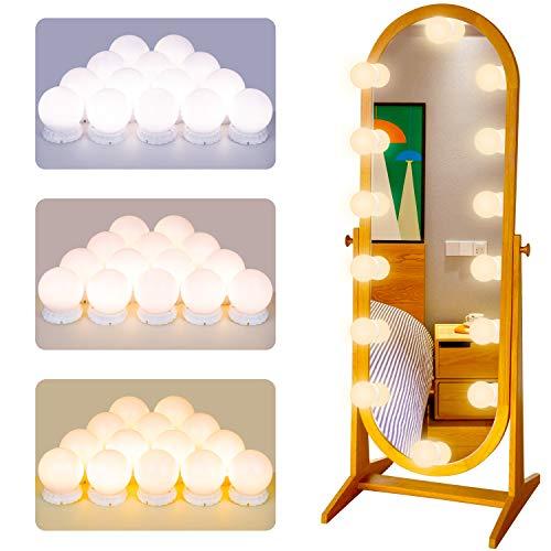 POVO Luces para Espejo de Maquillaje 14 Bombillas Regulables LED Lámpara Kit de Espejo Cosmético de Tocador con Estilo Hollywood 10 Niveles de Brillo y 3 Modos de Color, USB Operado (Blanco)