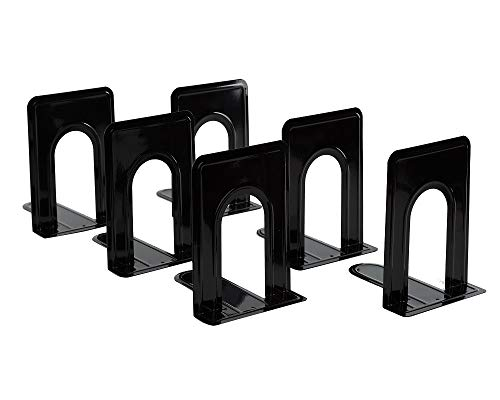 Lafbo Premium HeavyDuty Black Bookends – Metal LShaped Book Ends – Non Skid  Perfect for Books DVD VHS Tapes Music CD Games – Measures 57 x 5 x 68 Inches – 3 Sets of 2 Book Supports 6