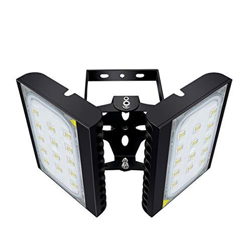 Projecteur LED extérieur pour Garage, 18000LM, 6000K (éclairage blanc lumière du jour) Projecteur de sécurité, 200W Projecteur réglable pour granges, terrasses et jardins