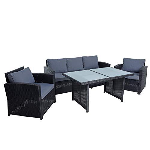 ESTEXO Polyrattan Sitzgruppe Gartenmöbel Set Rattanlounge Lounge Set Essgruppe Rattan Gartenset Loungeset Gartenmöbelset (Schwarz)