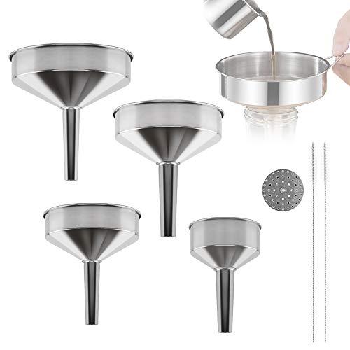 RayE 4 Stück Edelstahl Trichter Set, marmeladentrichter Edelstahl Küche Strainer Trichter mit Abnehmbarem Sieb +Reinigungsbürste für die Übertragung von Flüssigen Zutaten