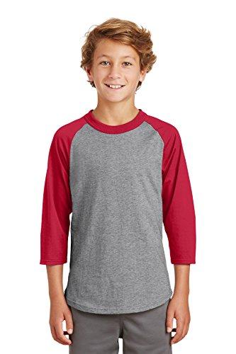 Sport-Tek Youth Colorblock Raglan Jersey. YT200 Heather Grey/Red L