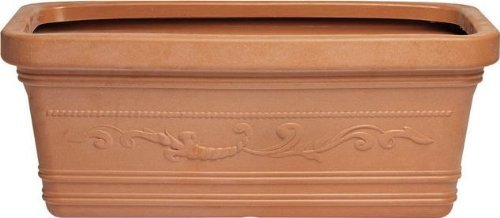 Vase rectangulaire cranté Maxi est de 60 cm couleur Terracotta Double Edge