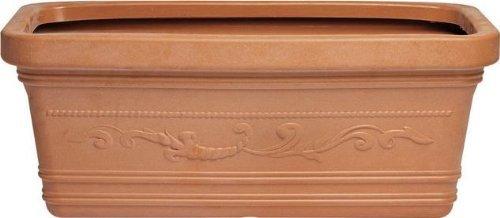 Rectangulaire vase festonné de Maxi mesure 80 cm couleur Terracotta Double Edge