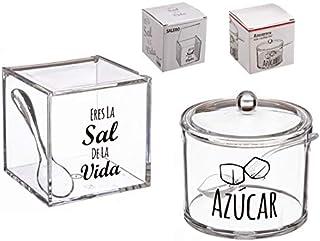 Dcasa - Salero y azucarero de cocina super original acrilico diseño frases .
