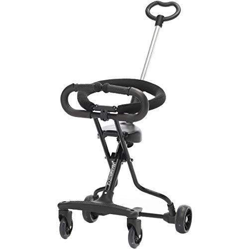 UrbanMiniStyle 軽量 折りたたみ キッズスクーター 4輪 コンパクト 耐荷重30kg ストッパー機能付き 約1歳半~6歳まで使える バギー (ブラック)
