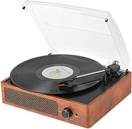 Vinyl Plattenspieler, Bluetooth tragbaren Vinyl Plattenspieler Schallplattenspieler mit 3-Gang 33/45/78 U / min und Eingebauter 2 Stereo Lautsprechern- natürliches Holz