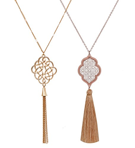 ALEXY 2Pcs Long Chain Pendant Necklace Set, Filigree Quatrefoil and Celtic Knot Pendant Tassel Y Necklaces for Women (A Gold + Rose Gold)