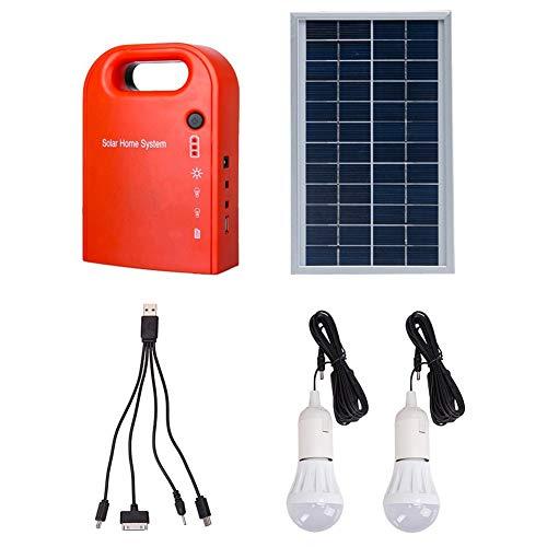 MeetUs Portable Home Outdoor Generation System Kleine DC Solar Panels Beleuchtung Lade Generator Power System, 2 Stück Glühbirne + 4 In 1 USB Ladekabel