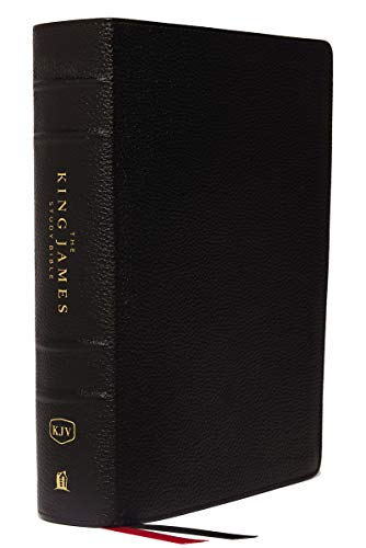 KJV, The King James Study Bible, Genuine Leather, Black, Thumb Indexed, Red Letter, Full-Color Edition: Holy Bible, King James Version