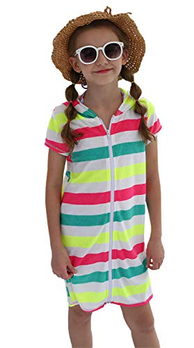 DUSISHIDAN Ponchos für Kinder Surf Poncho Bademantel für Kinder, Sport Robe mit Reißverschluss Streifen 152-164 L(12-14)