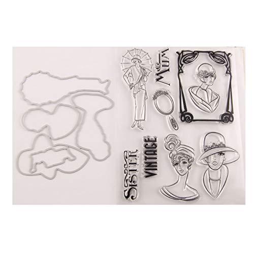 Soeur Vintage Clear Stamp Avec Coupe Dies Stencil Set BRICOLAGE Scrapbooking Gaufrage Décoratif Carte Artisanat Art À La Main