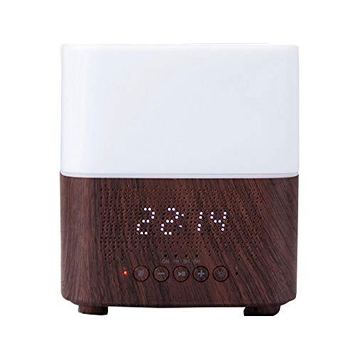 HW Humidificador de Aire 300ml Bluetooth y Alarma Aroma Difusor Multifunción (Color : Dark Wood)