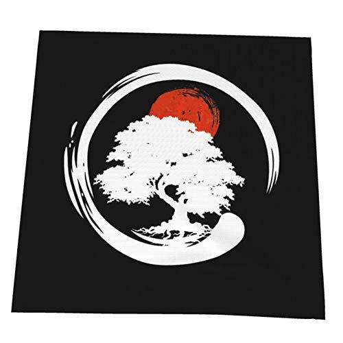 Juego de 4 servilletas de tela, diseño de árbol bonsái, caligrafía japonesa, sol naciente, zen, suaves, lavables y reutilizables, servilletas de cena para casa, restaurante, hotel, boda, 50 x 50 cm