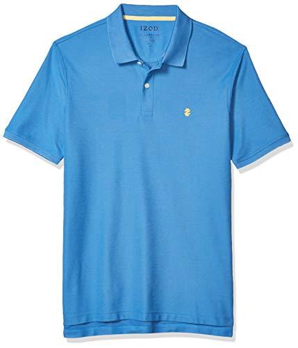 IZOD Men's Regular Fit Advantage Performance Short Sleeve Solid Polo, Blue Revival, Medium
