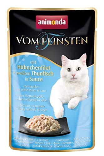 animonda Vom Feinsten Adult Katzenfutter, Nassfutter für ausgewachsene Katzen, im Frischebeutel, mit Hühnchenfilet + weißem Thunfisch in Sauce, 18 x 50 g