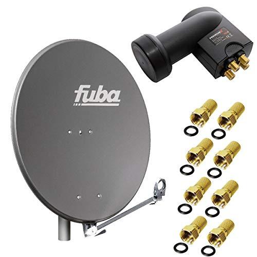 Fuba DAL 800 A Digital Sat Schüssel Anthrazit 80cm Full HD 3D TV + LNB Quad 0,1 dB PremiumX PXQS-SE Quattro Switch zum Direktanschluss von 4 Teilnehmern Digital HDTV FullHD 3D tauglich + 8x F-Stecker 7mm vergoldet