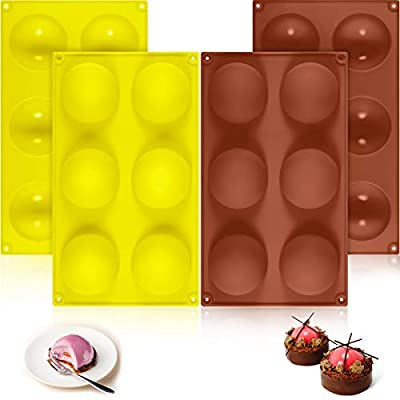 Amazon - Save 40%: 6 Holes Silicone Molds 3D Half Ball Molds Dome Molds Round DIY Pudding Molds…
