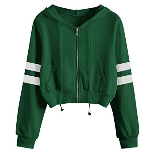 Covermason Hood Sweat-Shirt À Capuche Femme Casual Solid Manche Longue Tee Shirt Zip Court Sweat-Shirt Manteau Veste (Vert,S)