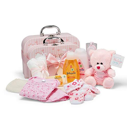 Baby Geschenkset I Geschenk Geburt & Taufe I Originelle Geschenkidee für Neugeborene – 2 Süße Erinnerungsboxen mit Teddy, Kleidung, Lätzchen, Badeschaum – Geschenke zur Geburt Mädchen