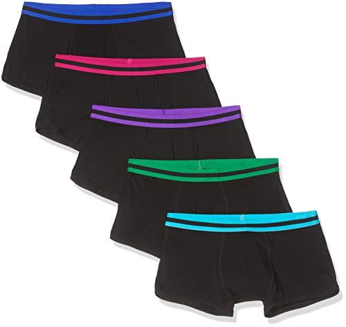 Amazon-Marke: find. Herren Boxershorts im 5er-Pack, Mehrfarbig (Black with Neon wiast band), L, Label: L