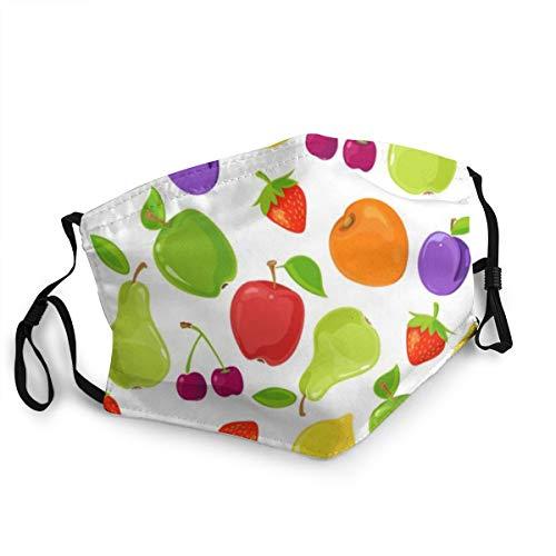 YudoHong Unisex Nahtloses Muster aus bunten Früchten 15 cm * 20 cm Gesichtsmundmaske Anti Staub Wind