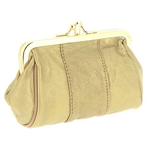 Karl Loven - Monedero para mujer de piel de cordero – Clic Clac Retro Vintage – 2 compartimentos – monedas – Billetes – Tarjeta de crédito – Cartera