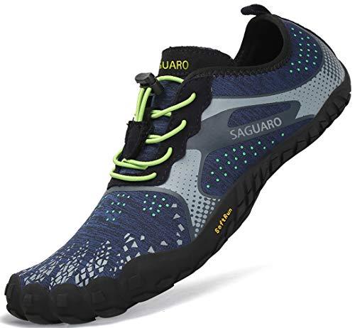 SAGUARO Outdoor Sport Barfußschuhe Damen Traillaufschuhe Herren Fitnessschuhe Atmungsaktive Zehenschuhe rutschfest Trekking Wander Schuhe Unisex Blau Gr.41