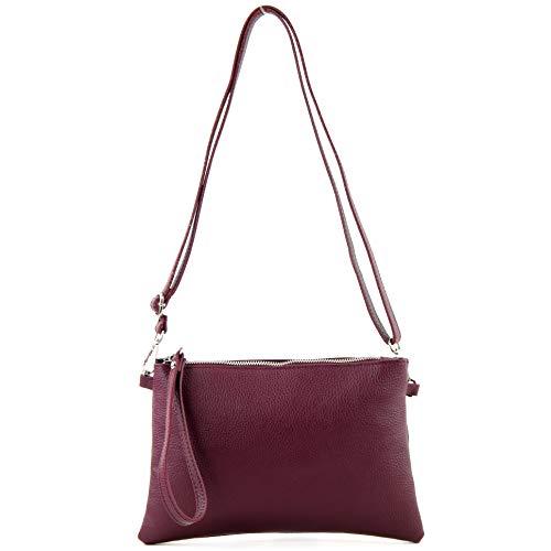 modamoda de - T186 - Mediano italiano/Bolso bandolera de cuero, Color:violeta Burdeos