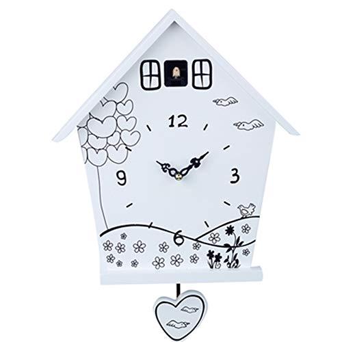BTTNW Reloj de Cuco Reloj de Reloj de Cuco Moderno Reloj de Pared Reloj de Pared Reloj de Pared for Sala de Estar Dormitorio Oficina en casa Cuco Timbre (Color : White, Size : 12 Inches)