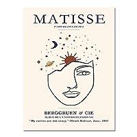 マティス抽象顔壁アートキャンバス絵画、北欧のポスターとプリント、フレームレス装飾キャンバス絵画 A2 30x40cm