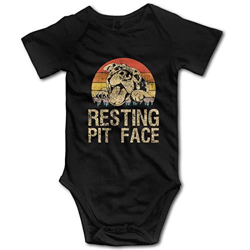 Vintage Pitbull Resting Pit Face Bebé Ropa De Manga Corta Babysuit Divertido Unisex Chaleco Recién Nacido Mameluco Traje Algodón