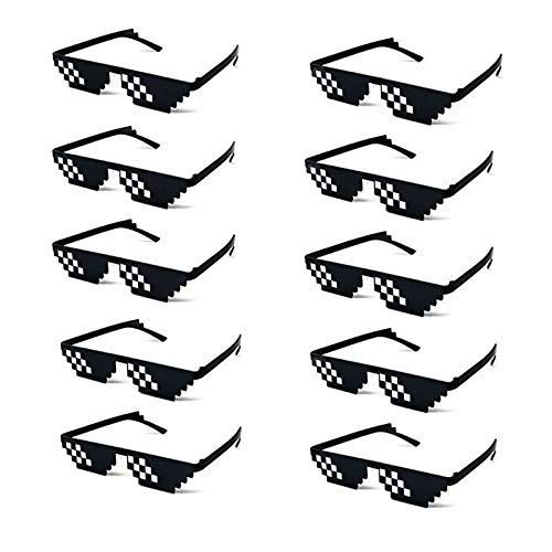 10 Pack Thug Life Party Sunglasses 8 Bit Pixelated Tiny Mosaic Gamer MLG Photo Props Glasses for...