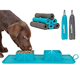 EasyPets 'RollaBowl' Travel Dog Bowl. Portable Double Roll Up Pet Bowls with Carry Case. Collapsible silicone bowl for Cat/Dog. Perfect for home, travel, walks and camping.