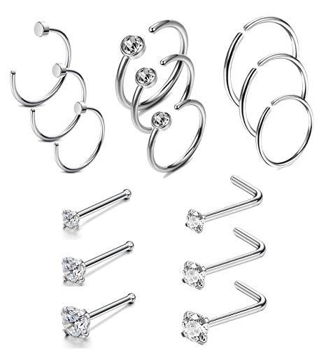 Milacolato 15 Pcs 20G Stainless Steel Nose Ring CZ L-Shaped Hoop Piercing for Men Women