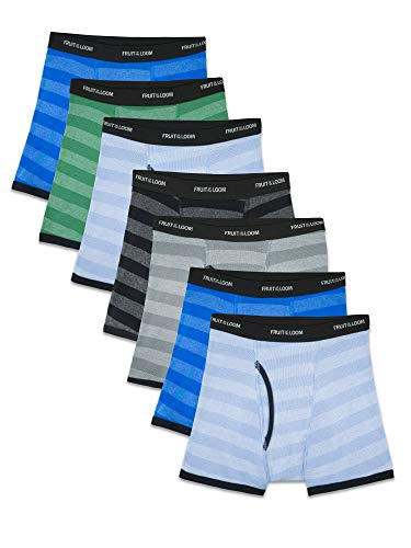 Fruit of the Loom boys (Assorted Colors) Boxer Briefs, Traditional Fly - 7 Pack Stripes, Medium US