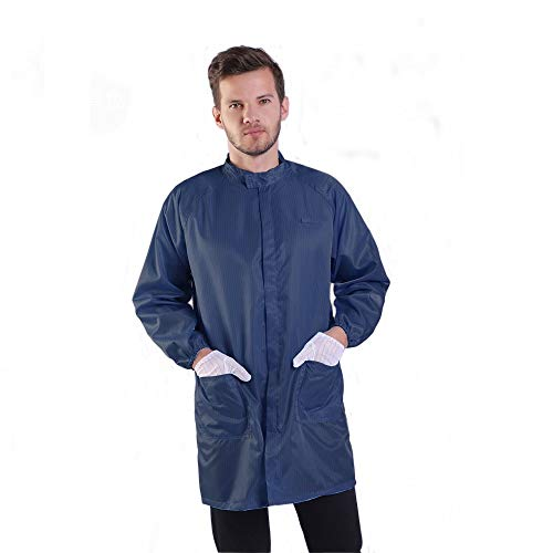 Long Sleeve ESD Safe Anti-Static Stand Collar Lab Coat with Zipper Non-Stretch Unisex Uniform Comfort Fit (L, Navy)