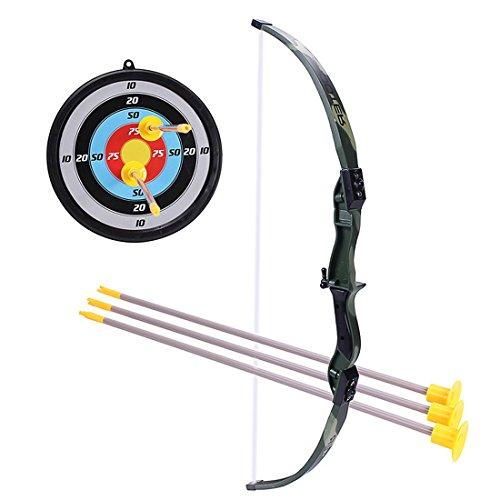 Rolanli Pfeil und Bogen Kinder Emulational Kunststoff Spielzeug Schießen Spiel Spielzeug mit 1 Bogen 3 Pfeile und 1 Ziel