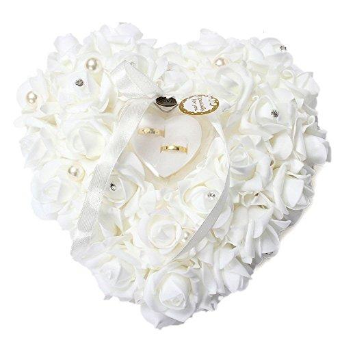ECOSWAY - Almohada para anillos de boda estilo europeo, para parejas, rosa, lazo, diamante, perla, adorno de boda, forma de corazón, caja de almacenamiento, regalos de boda (rosa rojo) blanco