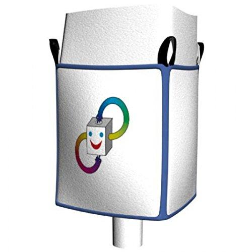 IXKES Big Bag für Pulver mit Schürzen Verschluss und Auslaufstutzen 90x90x165 cm Weiß