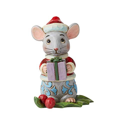 Enesco Jim Shore Heartwood Creek Christmas Mouse Miniature Figurine, Multicolor