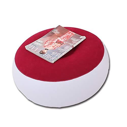 Aiglen Sofá Perezoso Inflable Plegable reclinable sofá Cama al Aire Libre con Pedal cómodo sofá Individual Flocado Silla Revestimiento de Pila (Color : Red Round Stool)