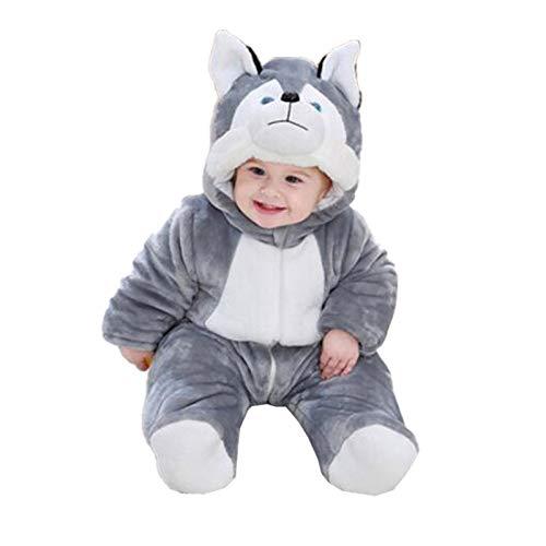 SCHUANG Abrigo Grueso de Invierno para bebé 0-12 Meses Ropa de bebé con Cubierta de pies Mono con Capucha para bebé Mono Ropa infantil-grey-59