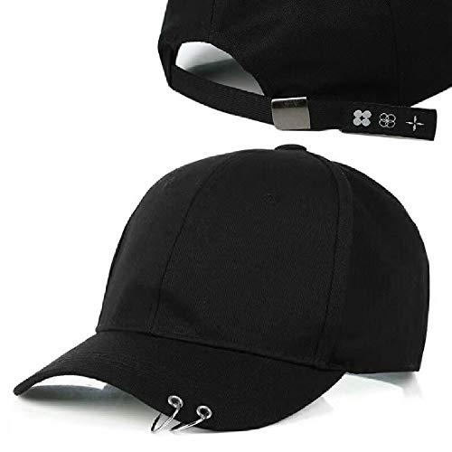 Sombrero de la personalidad del anillo del anillo de hierro color sólido gorra de béisbol de los hombres y mujeres del casquillo de la sombrilla con papá ajustable hebilla cerrada camionero 100% algod