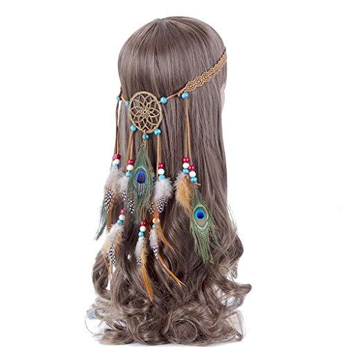 Fliyeong Traumfänger Boho Headwear Native Headpiece Hippie Kleidung Pfauenfeder Haarschmuck Khaki Kostengünstig und langlebig