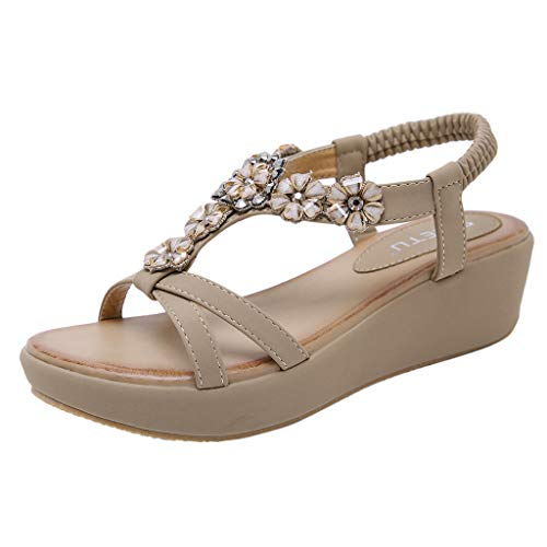 MmNote Women Shoes, Ladies Summer Beach Flat Roma Shoes Boho Rhinestone Crystal Floral Flip Flops Comfortable Khaki