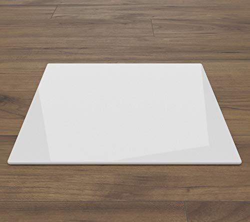 WEIßE Kamin Glasbodenplatte Funkenschutz Kaminplatte Glas Ofen Platte NEU (Ohne Dichtung, Rechteck 110x120cm)