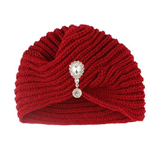 Gorros de Punto para Mujer Sombrero de Taladro de Gota de Agua para Mujer de Invierno Sombrero de Lana de Punto de Invierno con Cruz de Color sólido-D